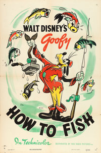 "Goofy in How to Fish (RKO, 1942). One Sheet (27"" X 41"")"