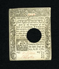 Colonial Notes:Connecticut, Connecticut July 1, 1780 20s Choice About New++. A lovely holdcancelled Connecticut note that has bright paper, broad margi...