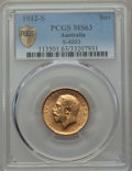 Australia, Australia: George V gold Sovereign 1912-S MS63 PCGS,...