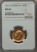 Australia, Australia: George V gold Sovereign 1911-S MS64 NGC,...