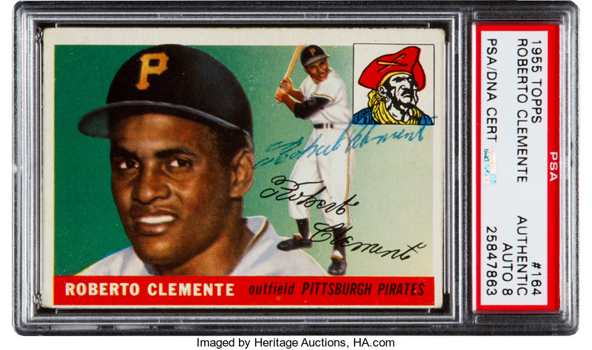 Signed 1955 Topps Roberto Clemente 164 Rookie Card Psa