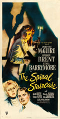 """Movie Posters:Thriller, The Spiral Staircase (RKO, 1945). Three Sheet (41"""" X 80""""). From the collection of William E. Rea.. ..."""