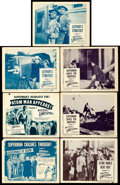 """Movie Posters:Serial, Atom Man vs. Superman (Columbia, 1950). Title Lobby Cards (2) &Lobby Cards (5) (11"""" X 14"""") Multiple Chapters.. ... (Total: 7Items)"""