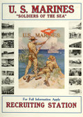 "Movie Posters:War, World War I Propaganda (U.S. Marines, 1917). Marines RecruitmentPoster (27"" X 38"") ""Soldiers of the Sea."". ..."