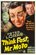 "Movie Posters:Mystery, Think Fast, Mr. Moto (20th Century Fox, 1937). One Sheet (27"" X 41"").. ..."