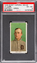 Baseball Cards:Singles (Pre-1930), 1909-11 T206 Sweet Caporal Ty Cobb (Portrait, Green) PSA EX-MT 6....