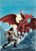 Original Comic Art:Covers, Bob Larkin Savage Sword of Conan #206 Cover PaintingOriginal Art (Marvel, 1993)....