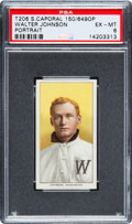 Baseball Cards:Singles (Pre-1930), 1909-11 T206 Sweet Caporal Walter Johnson (Portrait) PSA EX-MT 6 -With Rare Factory 649 Overprint. ...