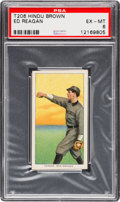 Baseball Cards:Singles (Pre-1930), 1909-11 T206 Hindu - Brown Ed Reagan PSA EX-MT 6 - SouthernLeaguer. Highest Graded Hindu Back! ...