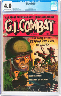 G.I. Combat #1 (Quality, 1952) CGC VG 4.0 Off-white to white pages
