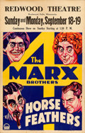 "Movie Posters:Comedy, Horse Feathers (Paramount, 1932). Window Card (14"" X 22"").. ..."