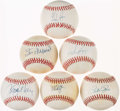 Autographs:Baseballs, HOF/Superstar Autographed Baseball Collection Including Sandberg,McGwire, Ryan, Musial, Boggs, and Rose (6). ...