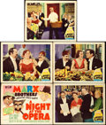 "Movie Posters:Comedy, A Night at the Opera (MGM, R-1948). Title Lobby Card and LobbyCards (4) (11"" X 14"") Al Hirschfeld Artwork.. ... (Total: 5 Items)"