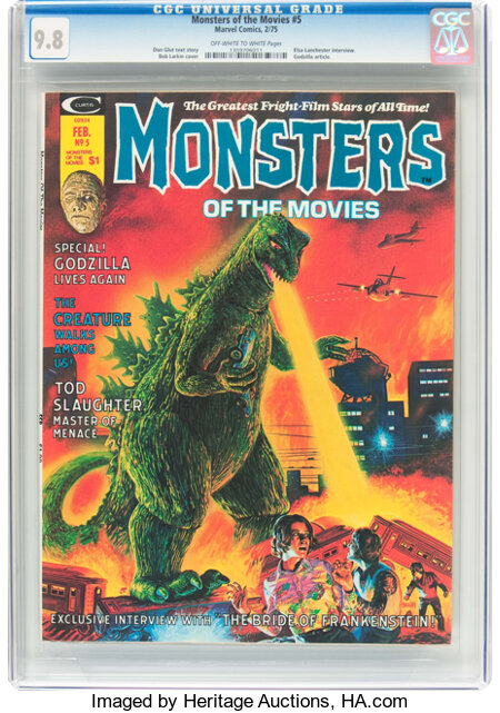 Monsters of the Movies #5 (Marvel, 1975) CGC NM/MT 9.8 Off-white to white pages....