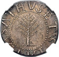 Colonials, 1652 SHILNG Pine Tree Shilling, Large Planchet, No Pellets at Trunk, Noe-2, W-700, Salmon 2-C, R...