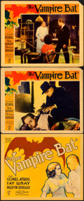 "Movie Posters:Horror, The Vampire Bat (Majestic, 1933). Title Lobby Card and Lobby Cards(2) (11"" X 14"").. ... (Total: 3 Items)"