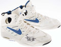 Basketball Collectibles:Others, 1993-94 Sean Elliott Game Worn, Signed Detroit Pistons Shoes....