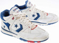 Basketball Collectibles:Others, Mark Aguire Game Worn, Signed Detroit Pistons Shoes....
