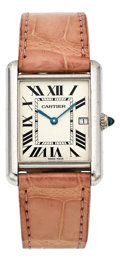 Estate Jewelry:Watches, Cartier Lady's White Gold, Leather Strap Tank Watch. ...