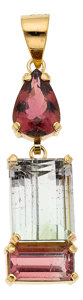 Estate Jewelry:Pendants and Lockets, Tourmaline, Gold Pendant. ...