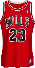 Basketball Collectibles:Uniforms, 1990-91 Michael Jordan Game Worn & Signed Chicago Bulls Jersey,MEARS A8....