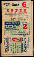 Baseball Collectibles:Tickets, 1939 World Series Game 2 Ticket Stub....