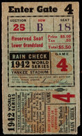 Baseball Collectibles:Tickets, 1942 World Series Game 4 Ticket Stub....