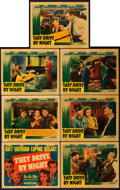 "Movie Posters:Drama, They Drive by Night (Warner Brothers, 1940). Linen Finish TitleLobby Card and Lobby Cards (6) (11"" X 14"").. ... (Total: 7 Items)"