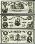 Obsoletes By State:Louisiana, New Orleans, LA- Citizens' Bank of Louisiana $1; $2; $3 18__ Remainders... (Total: 3 notes)