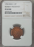 India:British India, India: British India. Bombay Presidency Proof 1/2 Pice 1794 PR65 Red and Brown NGC,...