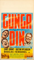 "Movie Posters:Action, Gunga Din (RKO, 1939). Midget Window Card (8"" X 14"").. ..."