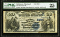 National Bank Notes:Maryland, Baltimore, MD - $20 1882 Value Back Fr. 581 The Old Town NB Ch. #(E)5984. ...