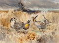 Fine Art - Work on Paper:Watercolor, John P. Cowan (American, 1920-2008). Attwater PrairieChickens, 1963. Watercolor on paper. 21 x 28-1/2 inches (53.3 x72...