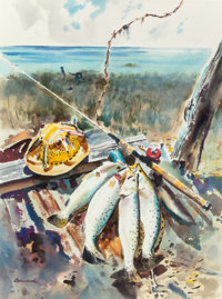 John P. Cowan (American, 1920-2008) San Luis Specks and Hat, 1963 Watercolor on paper 30 x 20 inc