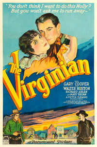 "The Virginian (Paramount, 1929). One Sheet (27"" X 41"") Style B Silent Version"