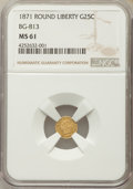 California Fractional Gold : , 1871 25C Liberty Round 25 Cents, BG-813, R.3, MS61 NGC. NGC Census:(1/38). PCGS Population (14/135). ...