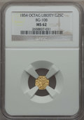 California Fractional Gold , 1854 25C Liberty Octagonal 25 Cents, Bg-108, Low R.4, MS62 NGC. NGCCensus: (8/15). PCGS Population (44/58). ...