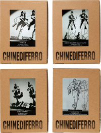 European Comic Character Iron Silhouette Statues Group of 4 (Chinediferro, undated)