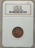 Proof Indian Cents, 1881 1C PR66 Red and Brown NGC. Snow-PR2....