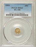 California Fractional Gold , 1854 25C Liberty Octagonal 25 Cents, Bg-108, Low R.4, MS62 PCGS.PCGS Population (44/58). NGC Census: (8/15). ...