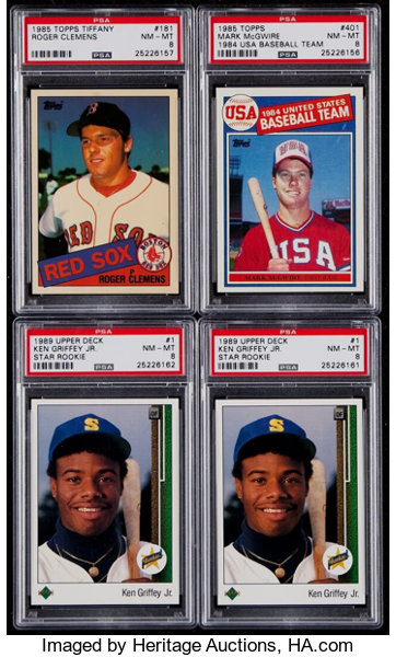 1985 89 Topps Upper Deck Psa Nm Mt 8 Graded Group 4 Lot