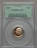 Proof Roosevelt Dimes: , 1961 10C PR68 Deep Cameo PCGS. PCGS Population (106/62). NGCCensus: (107/27). Numismedia Wsl. Price for problem free NGC/...