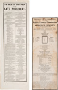 Political:Memorial (1800-present), Abraham Lincoln: Funeral Broadsides.... (Total: 2 Items)