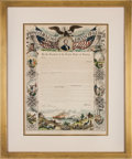 Miscellaneous:Broadside, Abraham Lincoln: Colorful Emancipation Proclamation Print....