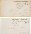 Autographs:Statesmen, [Abraham Lincoln]: Presidential Secretaries Free Frank Envelopes.... (Total: 2 Items)