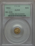 California Fractional Gold , 1853 50C Liberty Round 50 Cents, BG-428, R.3, AU58 PCGS. PCGSPopulation (72/161). NGC Census: (16/58). ...