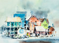 Works on Paper, Harold Phenix (American, 1928-2009). Old Galveston, 1980. Watercolor on paper. 8-3/8 x 11-1/2 inches (21.3 x 29.2 cm) (s...