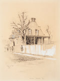 "Fine Art - Work on Paper:Drawing, Edward Muegge ""Buck"" Schiwetz (American, 1898-1984). House,Austin, Texas, 1927. Pencil and gouache on paper. 9-1/4 x 7-..."
