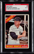 Baseball Cards:Singles (1960-1969), Signed 1966 Topps Mickey Mantle #50 SGC Authentic....