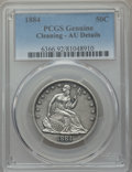 Seated Half Dollars: , 1884 50C -- Cleaning -- PCGS Genuine. AU Details. NGC Census: (1/79). PCGS Population (1/125). Mintage: 4,400. CDN Wsl. Pri...